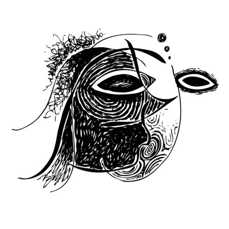 improvisation: Freehand illustration of abstract design face on white background, doodle hand drawn