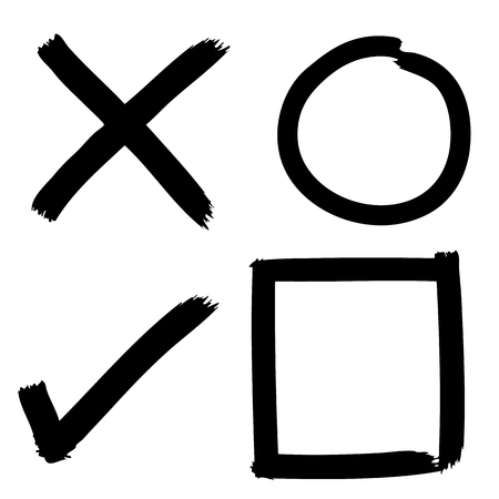 proceed: Freehand sketch of grunge Check mark buttons on white background, doodle hand drawn