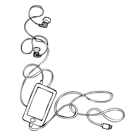 decorate mobile telephone: Freehand illustration ornament of grunge smart phone with earphones, usb cable and plug on white background, doodle hand drawn Illustration