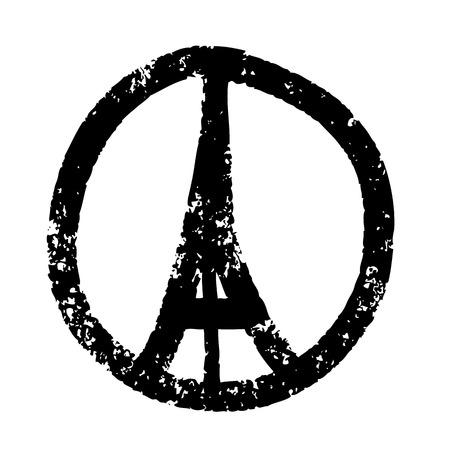 segno della pace: Freehand illustrazione schizzo di pregare mani e la Torre Eiffel, Parigi su sfondo bianco, mano Doodle disegnato, Pace per Parigi, Prega per Parigi