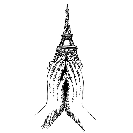 killed: Freehand sketch  illustration of pray hands and  Eiffel Tower ,Paris on white background, doodle hand drawn, Peace for Paris , Pray for Paris