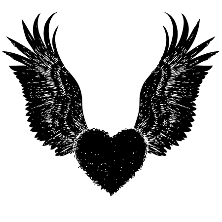 Doodle Hand Drawn Of Of Heart With Angel Wings Royalty Free Cliparts