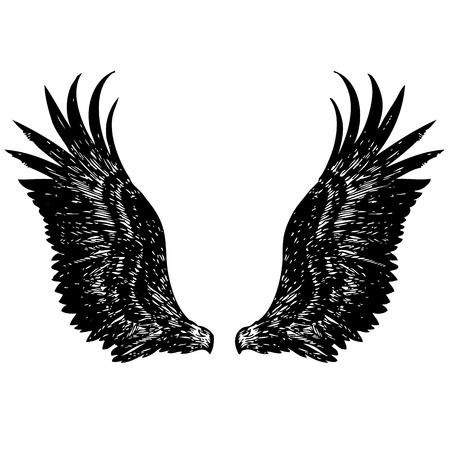자유형 스케치 천사 날개, 독수리, 낙서 손으로 그린 그림 일러스트
