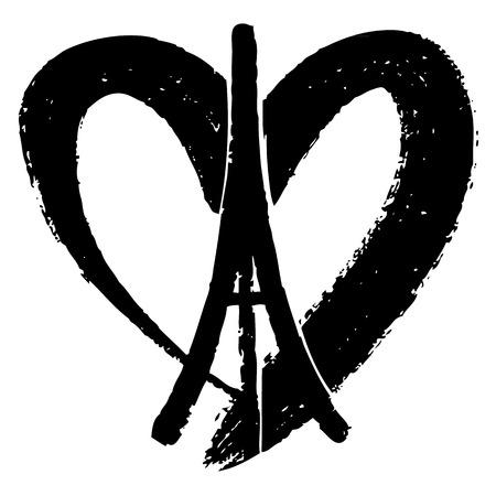 simbolo della pace: Freehand illustrazione schizzo di Torre Eiffel, la pace simbolo icona, mano doodle disegnati, Pace per Parigi, Prega per Paris, Love Paris Vettoriali