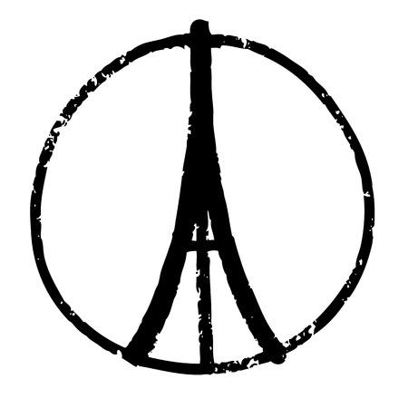 symbol hand: Handskizze Illustration der Eiffelturm, Friedenssymbol Symbol doodle Hand gezeichnet, Frieden f�r Paris, Betet f�r Paris, Love Paris