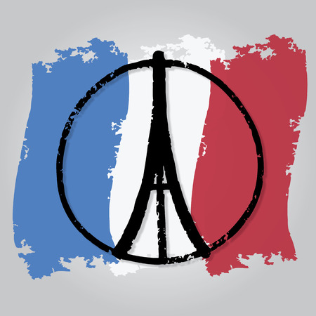 symbol victim: illustration of Eiffel Tower ,peace symbol icon on France flag, doodle hand drawn, Peace for Paris, Pray for Paris, Love Paris Illustration