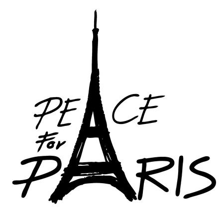 killed: Freehand sketch  illustration of Eiffel Tower ,peace symbol icon, doodle hand drawn, Peace for Paris, Pray for Paris, Love Paris