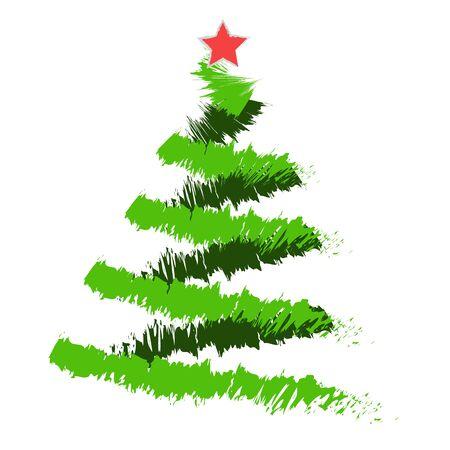 Freehand illustration of grunge Christmas tree on white background