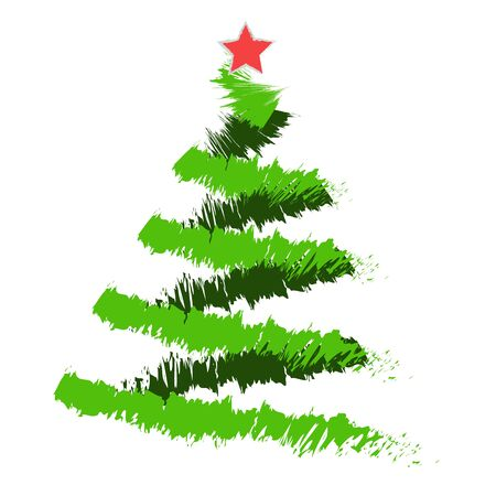 watercolour: Freehand illustration of grunge Christmas tree on white background