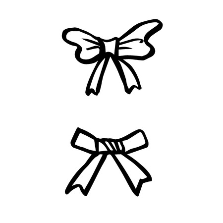 freehand sketch illustration of ribbon bows, doodle hand drawn Stock fotó - 51329975