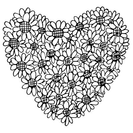 Freehand Illustration Of Retro Flower Design Heart Shape On White Background Doodle Hand Drawn Stock