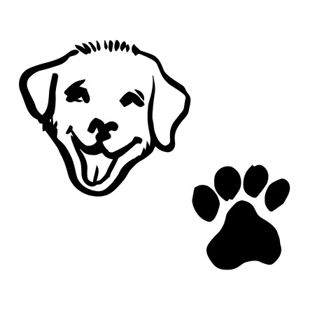 labrador doodle: freehand sketch illustration of Labrador Retriever puppy dog, animal footprint doodle hand drawn