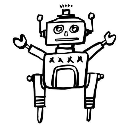 retro robot: freehand sketch illustration of retro robot doodle hand drawn