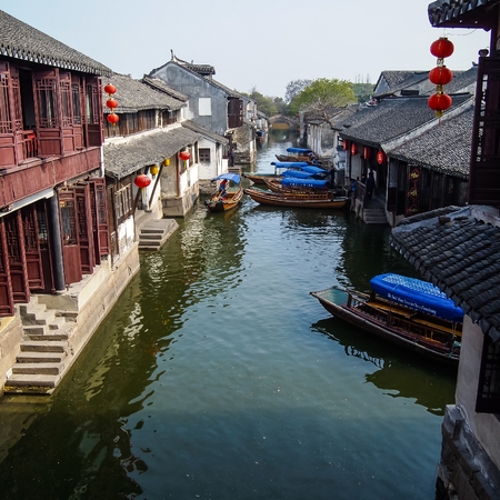 zhouzhuang: ZHOUZHUANG, SHANGHAI - April 11, 2011 : Zhouzhuang, the ancient water village is Shanghai tourist attraction with 1,000,000 visitors per year and there are a lot of variety activities have done here Editorial