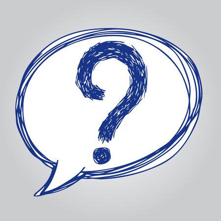 Handskizze Darstellung von Fragezeichen in Sprechblase Symbol, doodle Hand gezeichnet