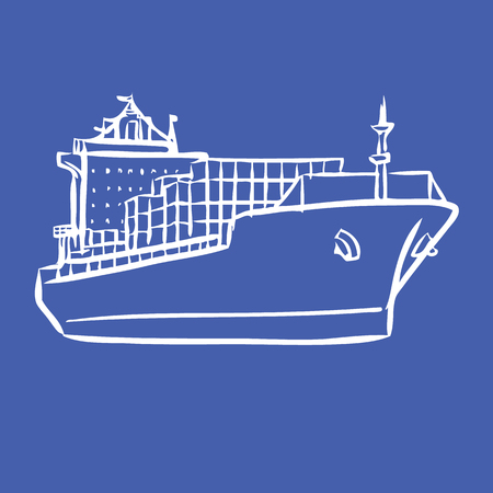 freehand sketch illustration of Cargo ship with containers icon, doodle hand drawn