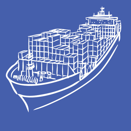 shipbuilder: freehand sketch illustration of Cargo ship with containers icon, doodle hand drawn