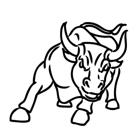 sketch illustration of charging bull,  doodle Illustration