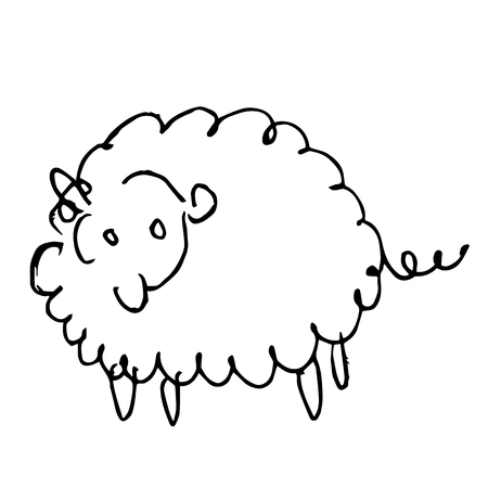 freehand sketch illustration of sheep doodle hand drawn in kid style Иллюстрация