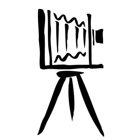 Ilustración boceto a mano alzada de cámara de gran formato, dibujado a mano de garabato