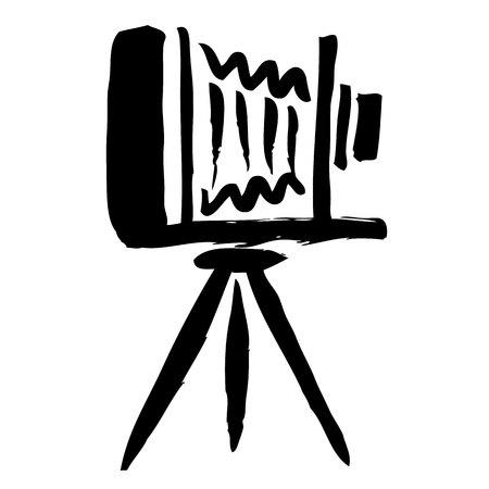 freehand sketch illustration of Large format camera, doodle hand drawn Векторная Иллюстрация