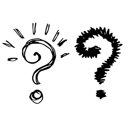 Freehand sketch illustration of question marks doodle hand drawn