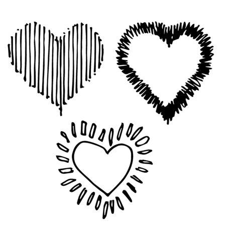 Doodle hand drawn set of design heart shaped on white background Illustration