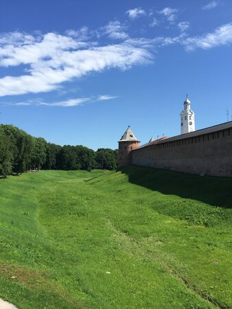 The fort in the park of Veliky Novgorod, Russia