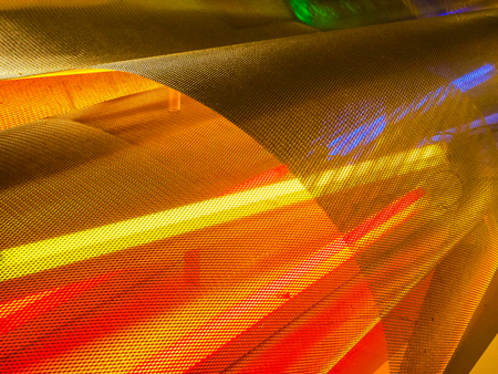 Abstract background, Colorful perforated bent metal sheet grid