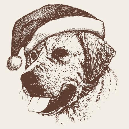 Labrador Retriever with santa claus hat hand drawn Christmas background.