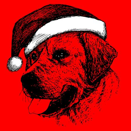 Labrador Retriever with santa claus hat hand drawn christmas background Illustration