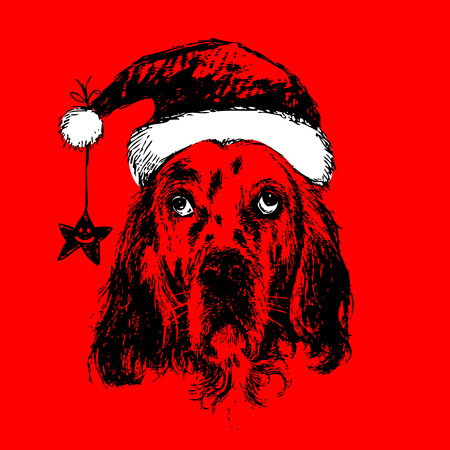 English setter with santa claus hat hand drawn christmas background