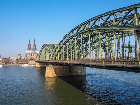 View of Cologne in Germany with famous Cathedral and Bridge Stock Photo