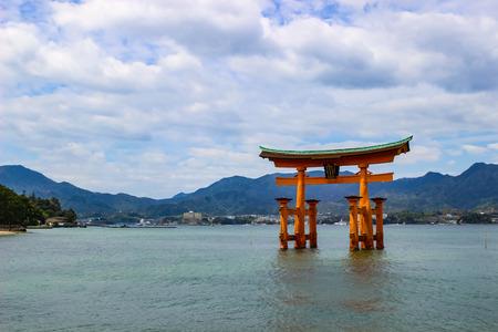 The Floating Torii gate of Itsukushima Shrine in Miyajima island, Hiroshima, Japan.