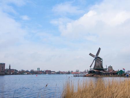 Historic windmills at Zaanse Schans ,neighborhood in the Dutch town of Zaandam, near Amsterdam,  The Netherlands.