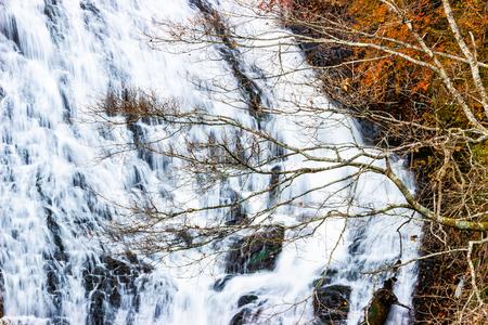 Beautiful view autumn leaves at Yudaki Falls, Nikko, Japan