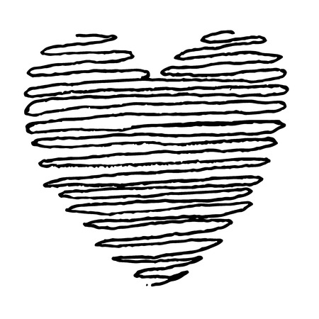 doodle hand drawn heart shaped icon on white background