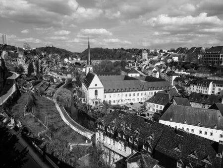Black and white image of view of Grund district in Luxembourg City, Luxembourg Stok Fotoğraf