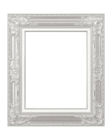 White vintage frame isolated on white background Stockfoto