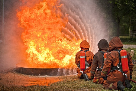 Firefighter during training photo