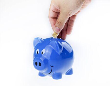 Putting sim into piggy bank.illustrate for future money saving. photo