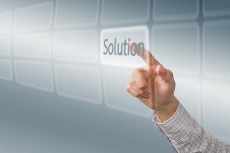 Finger push  Solution  button, futuristic technology photo
