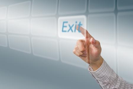 Finger push  Exit  button, futuristic technology photo