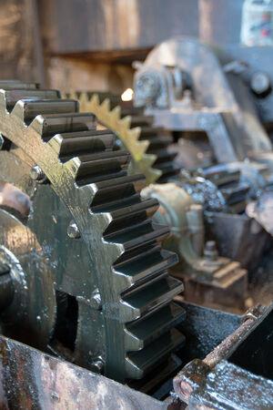 torque: Metal gears close up  Stock Photo