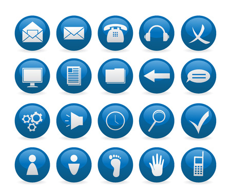 Blue glance web button icons Stock Vector - 5385660