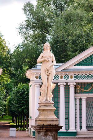 eva: PETERHOF, RUSSIA - 15.08.2008: Fountain Eva in the lower park Editorial