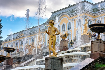 Peterhof, Russia - August 15, 2008: View of the Grand Peterhof Palace, with fountains and golden statues. Editorial