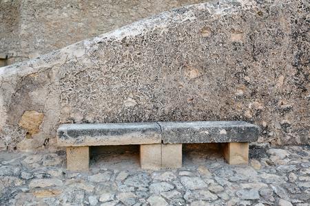 Stone bench in Santa Barbara Castle, Spain, Alicante