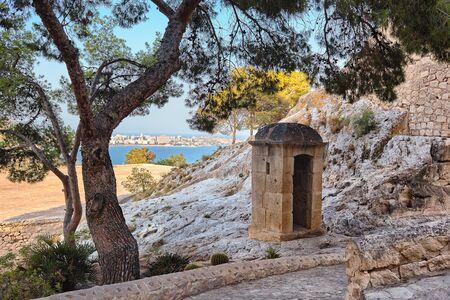 Sentry box in santa barbara castle, Alicante, Spain Stock Photo