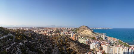 Panoramic view of the city of Santa Barbara Castle, the sea and part of the mountain where the fortress. Stock Photo
